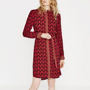 Zara | Contrast Print Shirt Dress
